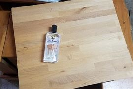 Square of butcher block for countertop/cutting board, with oil