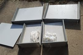 Assortment of (discontinued) Ikea cabinet drawers, including hardware and drawer rails.