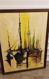 Large MCM original harbor painting