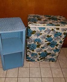 vintage bathroom storage shelf and clothes hamper