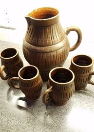 Grog pitcher and mugs