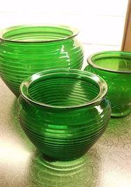 Decorative green-glass bowls