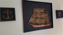 Nautical Triptych set (brass/copper on leather)