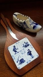 """""""Elesva of Holland"""" cheese board and shoe"""