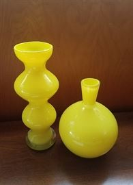 Crate and Barrel yellow-glass vase set