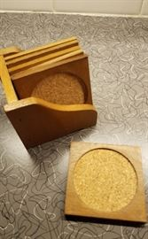 Wood and cork oaster set