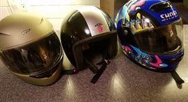 Motorcycle helmets (Fulmer, Davida, Shoei)