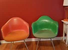 Pair of Eames armshell chairs