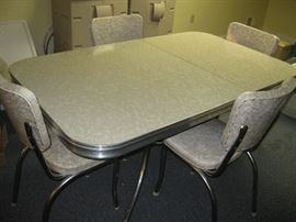 mid century gray ice and chrome table and 4 chairs made by Defco of Detroit