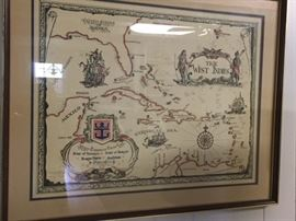print of antique West Indies map