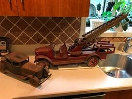 Antique fire truck and other antique automobiles