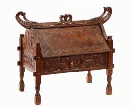 Hand Carved Teak Jodang or Wedding Chest, Indonesian, 19th Century from Java or Madura Island