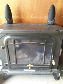 Electric fireplace (oops, speakers sitting on top)
