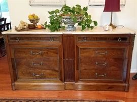 Mahogany buffet with marble top. Studded leather backing (see next photo)