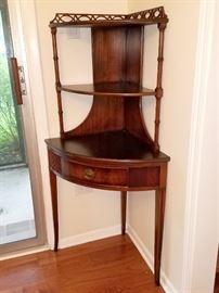 Brandt mahogany antique corner etagere table