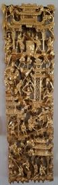 Carved Asian Panel Gold