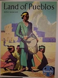 Vintage Railroad Poster Santa Fe Land of Pueblos