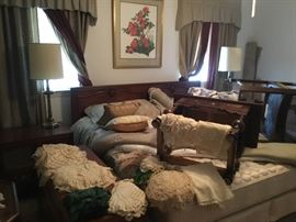 King size bed French Provençal, two night stands, one long dresser