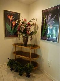 3tier bar cart, faux plants, framed posters