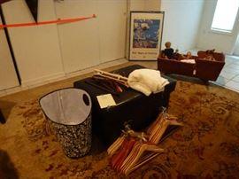 Large area rug, wood hangers