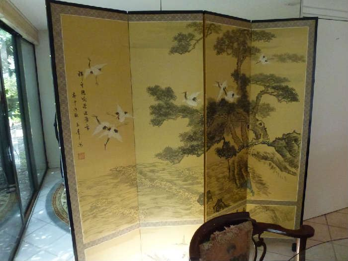 Asian signed 4panel screen, sandhill cranes