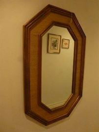 Wood  rattan mirror