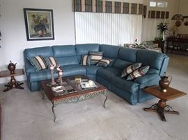 living room: teal section with end recliners, pair end tables, coffee table