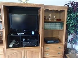 wall unit with LG flat screen, electronics