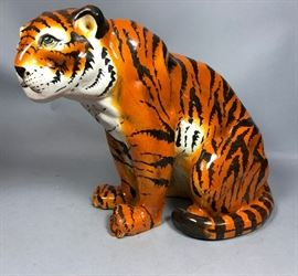 Lot 2 Glazed Ceramic Pottery Italian Tiger Sculpture.