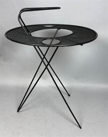 Lot 3 SOL BLOOM Black Metal Modernist Side Table. Hairp
