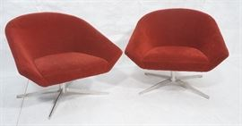 Lot 4 Pr BERNHARDT Modernist Swivel Lounge Chairs. Burg