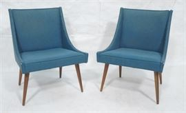 Lot 6 Pr THAYER COGGIN Modernist Blue Slipper Chairs.