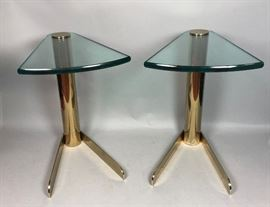 Lot 7 Pr Glass  Brass KARL SPRINGER style Side Tables.