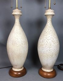 Lot 8 Pr Large Tall Modernist Ceramic Table Lamps. Text