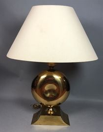 Lot 9 Large Modernist Brass Table Lamp. Round Form with