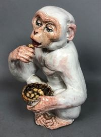 Lot 10 Italian Ceramic Pottery Monkey Figure. Marked Ita