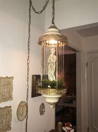 Vintage mineral oil drip drop Greek goddess hanging lamp