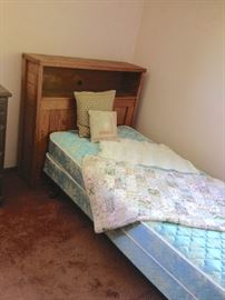 Twin Bed Frame with Foundation (Mattress/Box Spring) with Unfinished Wood Bookcase Headboard
