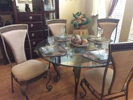 Beautiful 5 pc glass table and ornate plush chairs