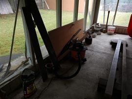 Back Porch:  Shop Vac, Power Tools