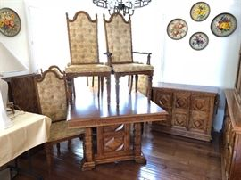 Dining table, chairs, buffet and china hutch