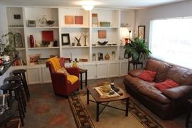 Living Room W/ Leather Sofa, Barstools, & More