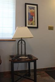 lamp, side table, and cast iron trivets