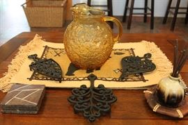mid century pitcher, large cast iron trivets