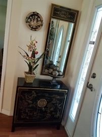 Oriental cabinet, mirror and more
