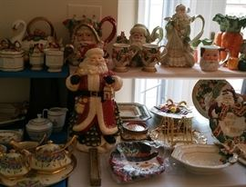 Fitz and Floyd Christmas plates, cookie jars, pitchers, etc.