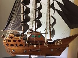 Large wooden 3 mast sailing ship