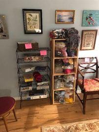 Wooden crates, shelving, art