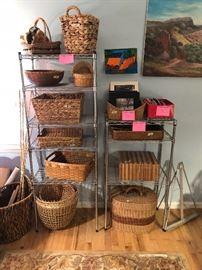 Metal shelving and lots of nice baskets