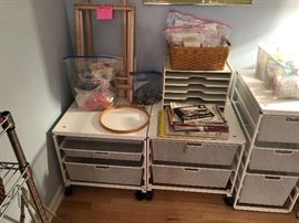 Elfa shelving, art supplies, loom